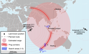 Map of search area for MH370