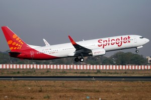 A SpiceJet Boeing 737 taking off from