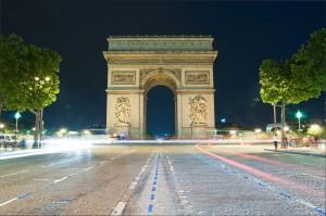 The Arc de Triomphe at the end of the Champs-Élysées