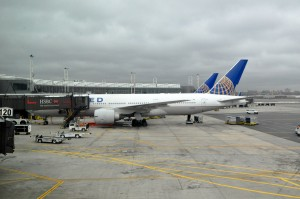 United aircraft at the gate in Newark