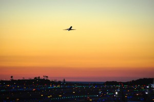 An American Eagle aircraft taking off at LAX