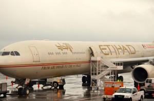 An Etihad plane at JFK