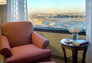 A guestroom with a view of Newark Liberty in the background