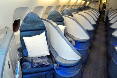 Air Canada's herringbone business-class seats