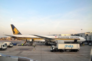 A Singapore Airlines plane at London Heathrow