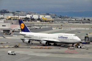 A Lufthansa 747 in San Francisco