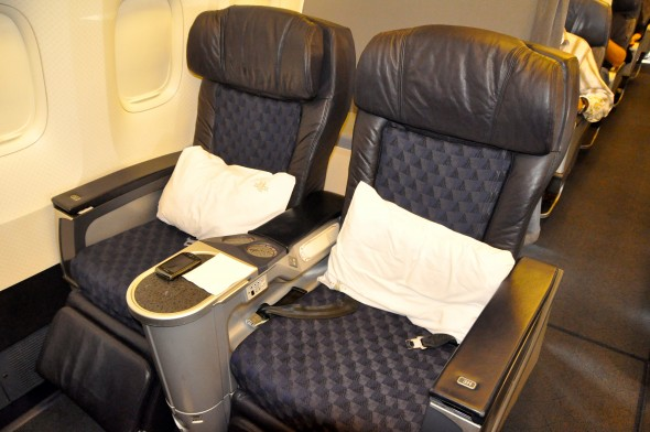 Recliner seats in first on an American 767-200