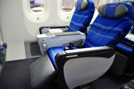 Recliners have moved into premium-economy class, such as in this case on LOT's Dreamliner
