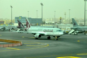 Qatar Airways aircraft in Doha