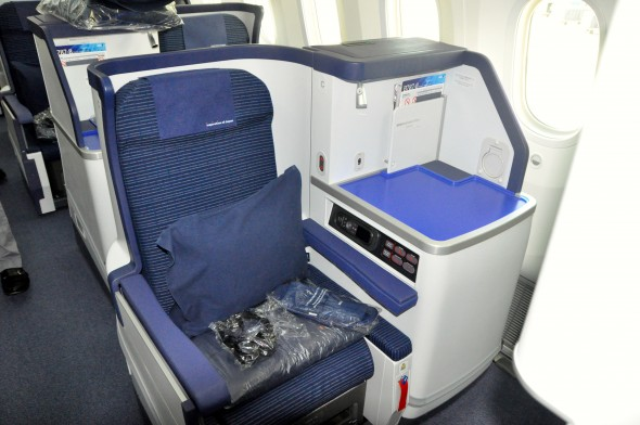 ANA's staggered business-class seat on the Dreamliner
