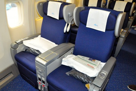 KLM's recliners on the 747 Combi