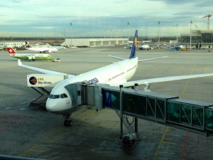 A Lufthansa Airbus A330-300 at the gate in Munich