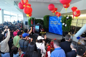 Pre-departure festivities at the gate in San Francisco Monday