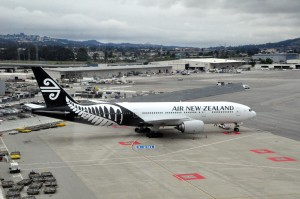 An Air New Zealand Boeing 777 in Los Angeles