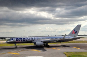 A one world-livery American Airlines plane at JFK