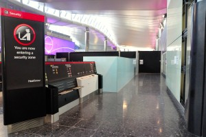 Entering a security checkpoint at London Heathrow Airport