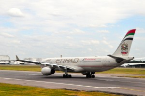 Etihad aircraft at London Heathrow