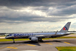 An American Airlines jet in special one world livery