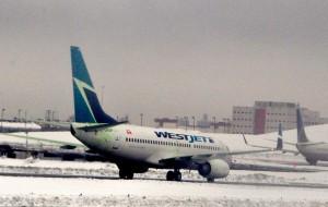 A WestJet plane at LaGuardia