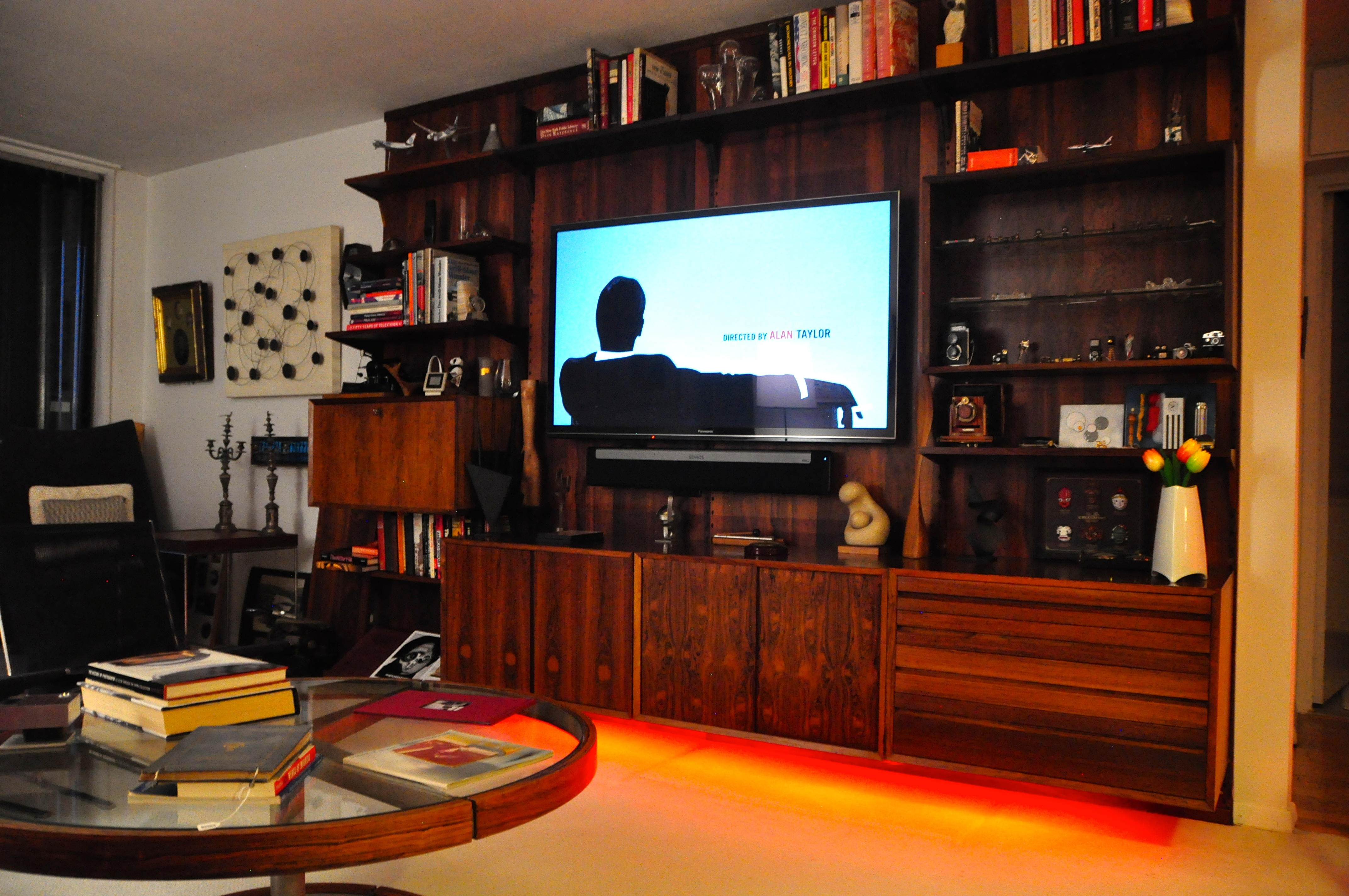 Friends of Hue LightStrip mounted under the cabinet (set to red)