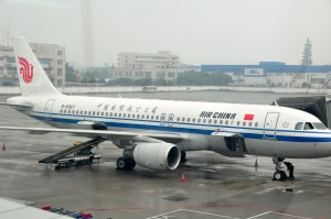 An Air China jet at the gate.