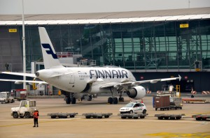 A Finnair plane in Brussels