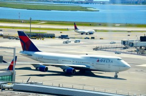 A Delta 747-400 at John F. Kennedy International Airport