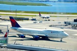 A Delta 747-400 at John F. Kennedy International Airport