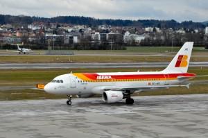 An Iberia aircraft in Zürich