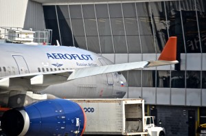 An Aeroflot plane in New York