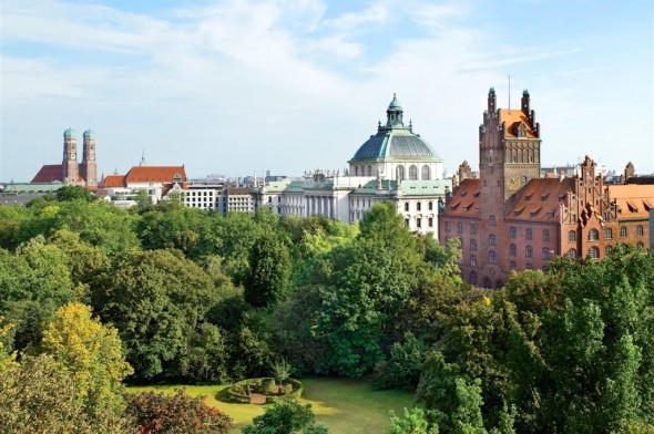 The Old Botanical Gardens in Munich, as seen from the Charles Hotel