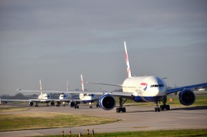 British Airways planes lined up for takeoff in London