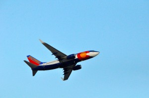 A Southwest plane departing from Newark