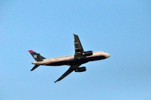 A US Airways plane taking off at Newark