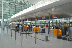 Check-in counters for Lufthansa at Munich Airport