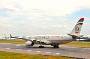 Etihad aircraft in London