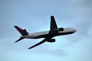 Delta aircraft taking off from Newark