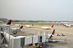 Aircraft and jet bridges at Atlanta's airport