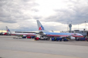 American Airlines aircraft at the gate in Chicago