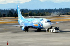 An Alaska Airlines plane in Seattle