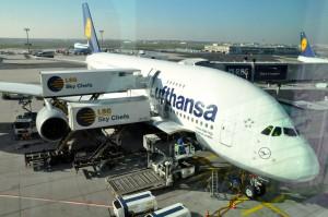 A Lufthansa A380 in Frankfurt