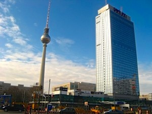 The Fernsehturm or television tower (left) was built as a symbol of East Germany in the 1960s