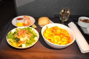 A first-class meal on AA before the merger