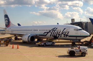 An Alaska Airlines plane at Washington Reagan