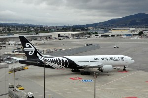 An Air New Zealand plane in Los Angeles