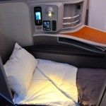A lie-flat bed in first on an A321T