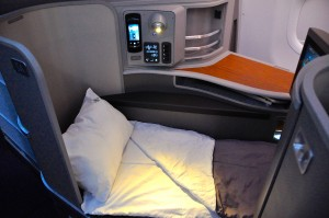 A lie-flat bed in first on an AA transcon
