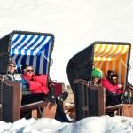 Skiers relaxing in St. Moritz