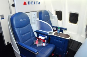 A Delta BusinessElite cabin on a Boeing 757 last week