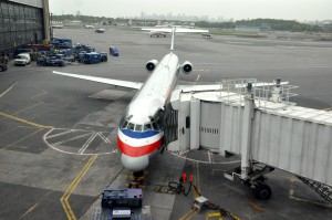An American Airlines plane at LaGuardia